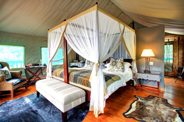 Inside the comfortable Deluxe Tented Suite.