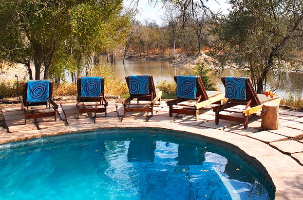 Afternoon leisure spent at the pool with scenic views Sabi Sands Reserve.