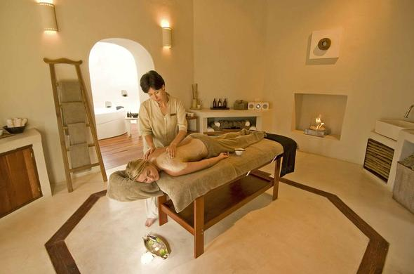 Soothing at the spa treatment room.
