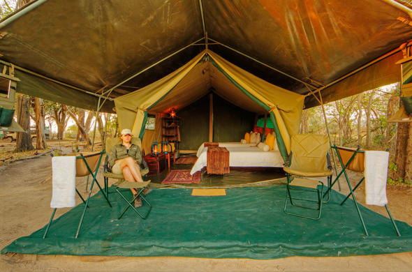 Tented room at Footsteps Across the Delta.
