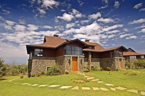 Stone and wooden exterior of the Great Rift Valley Lodge.