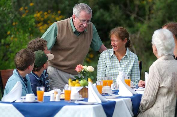 Family breakfast in the open-airs of Lake Naivasha.