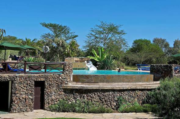 Family fun in the swimming pool at this Lake Naivasha accommodation.