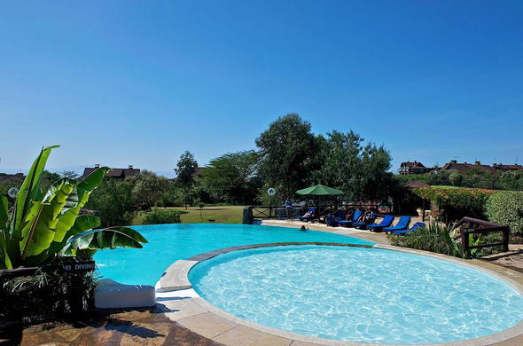 Swimming pool at Great Rift Valley Lodge.
