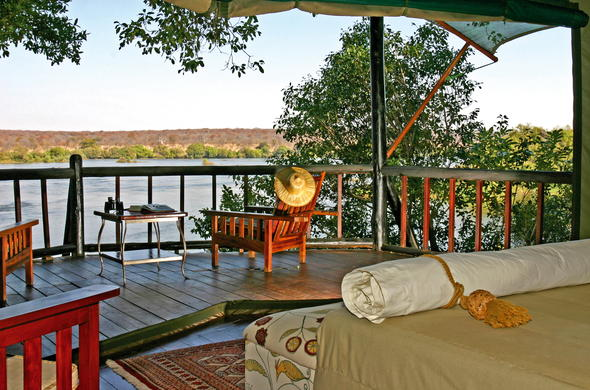 Islands of Siankaba tented suite with private patio.