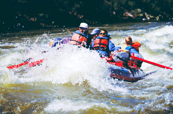 River rafting on the Zambezi River.