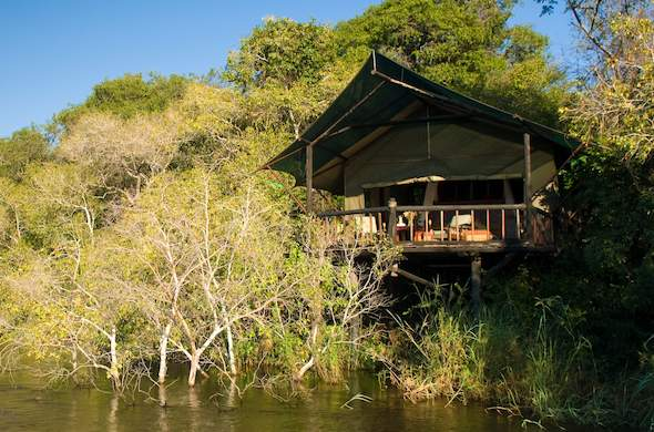 Tented chalet of Islands of Siankaba tucked away in Livingstone.