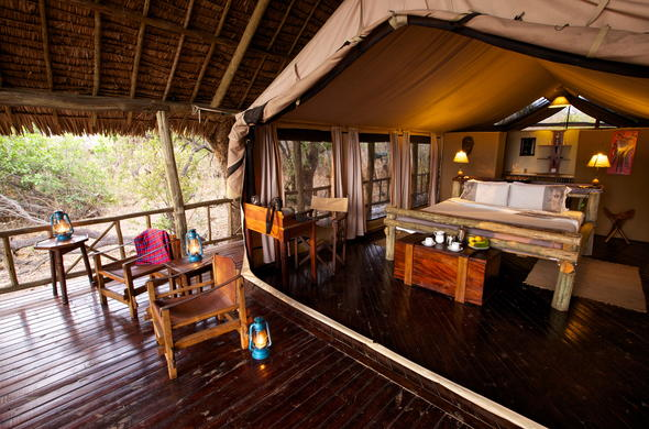 Spacious tented suite with private patio.