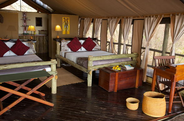 Spacious twin-bedded accommodation at Katavi Wilderness Camp.