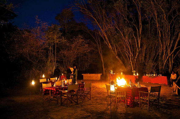 Hearty bush dinners at Mara Intrepids.