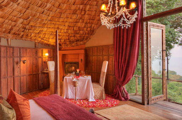 Private dining in the Ngorongoro Crater Lodge bedroom.