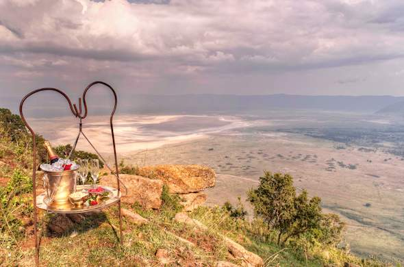Romantic celebrations at Ngorongoro Crater Lodge.