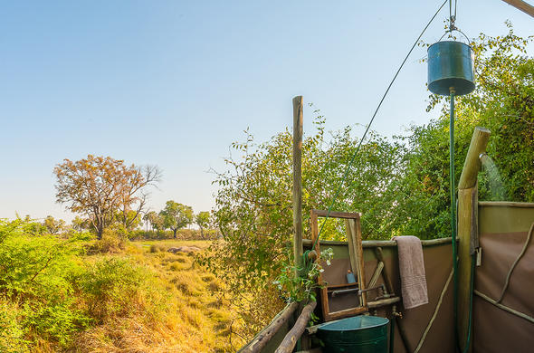 Outdoor shower at Oddball's Camp. Botswana