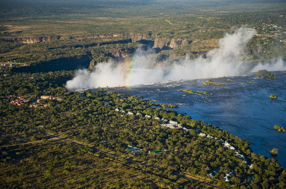 Aerial view of Royal Livingstone near Victoria Falls.
