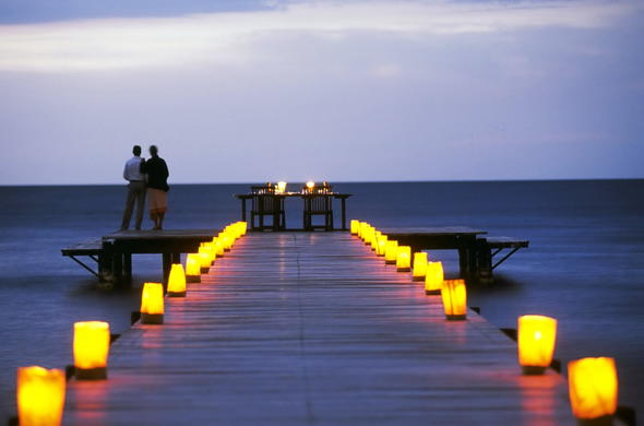 Romantic dinner for two on the jetty.