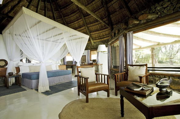 Comfortable thatched roof accommodation at Rusinga Island Lodge.