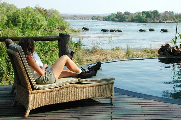 Game viewing from the pool leisure at Sanctuary Sussi & Chuma.