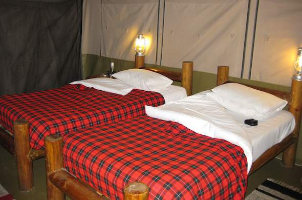 Tent with twin beds.