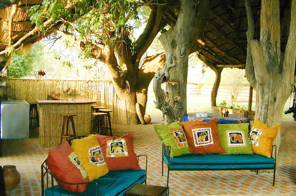 Relax in the guest area at Tafika Camp.