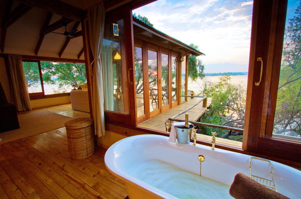 Scenic views of the Zambezi River from the bathroom.