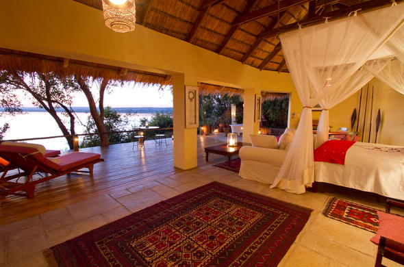 Spacious Livingstone accommodation at Tongabezi Safari Lodge.
