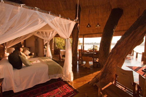 The stunning Tree House at Tongabezi Safari Lodge.