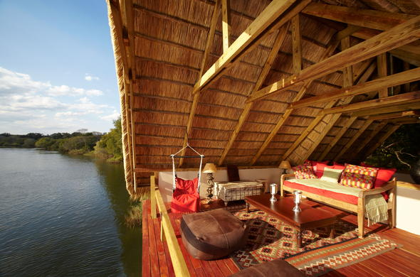 Scenic views of the Zambezi River from the viewing deck.